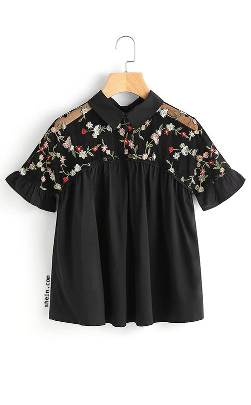 Embroidered Sheer Mesh Insert Tie Back Top