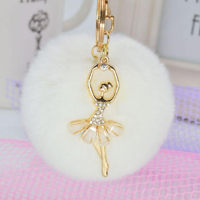 2016 Fashion Women Rabbit Fur Cony Hair Dancing Angel Rhinestone Ball Pom Pom Car Keychain Handbag Key Ring Pendant