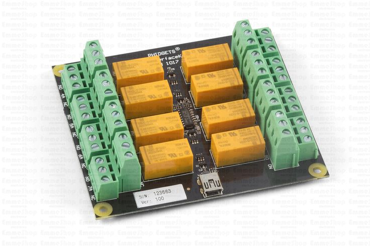 1017_1 - PhidgetInterfaceKit 0/0/8,The PhidgetInterfaceKit 0/0/8 provides Small Signal Relays with 8 Relay Outputs, rated at 250VAC, or 2 Amps, for a maximum of 60 Watts. While typical mechanical relay boards are unable to switch signals due to an oxide buildup on the contacts, the 1017 excels at switching both signals and low-power applications.