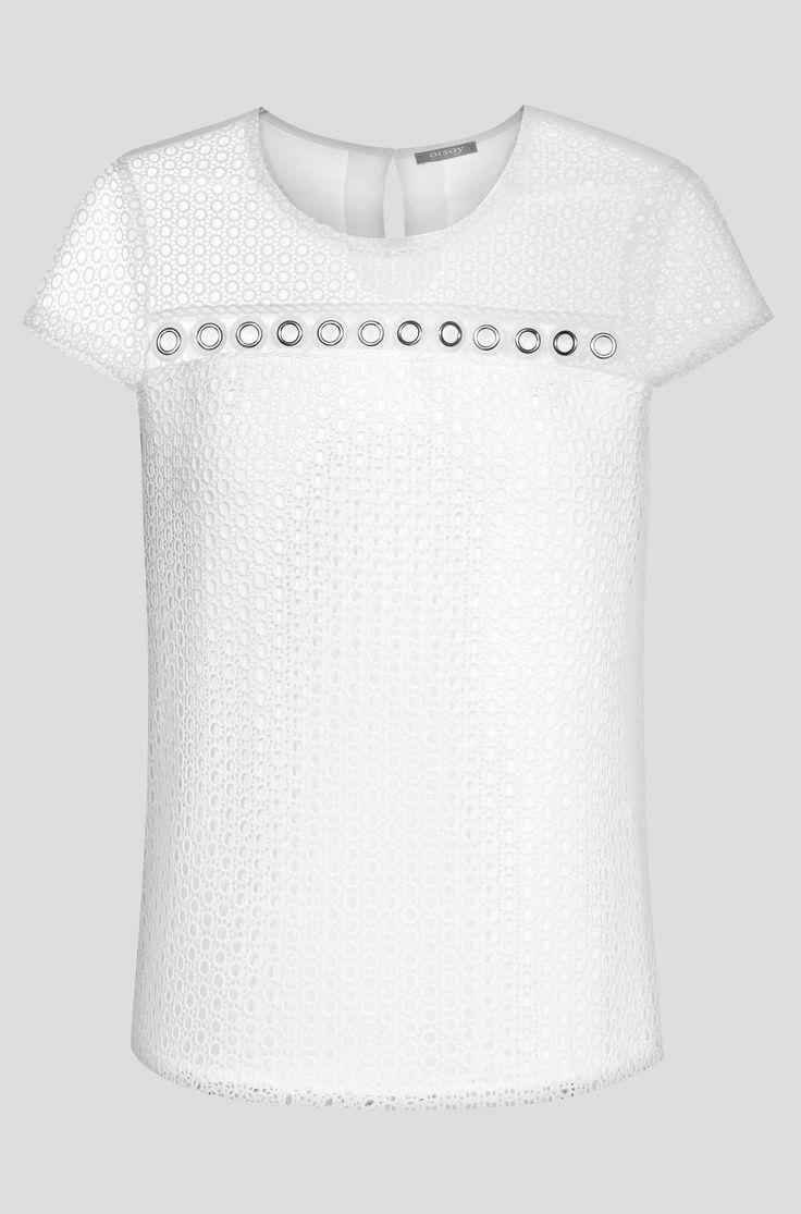 Bluză cu mânecă scurtă bimaterial cu dantelă