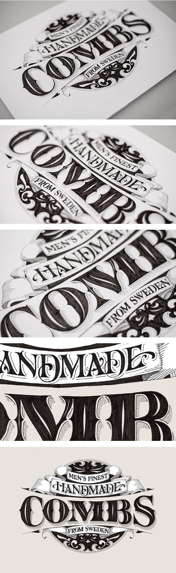 Handmade Combs by Andreas Ejerfors--Love the details in this lettering! The stippling and the lines added for shadows.