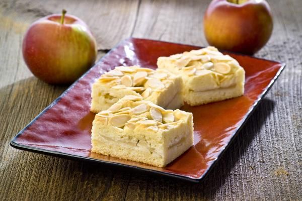 Planning your holiday menus? Ontario apples or pears are perfect in these sweet almond squares, and can be on the table in less than an hour!