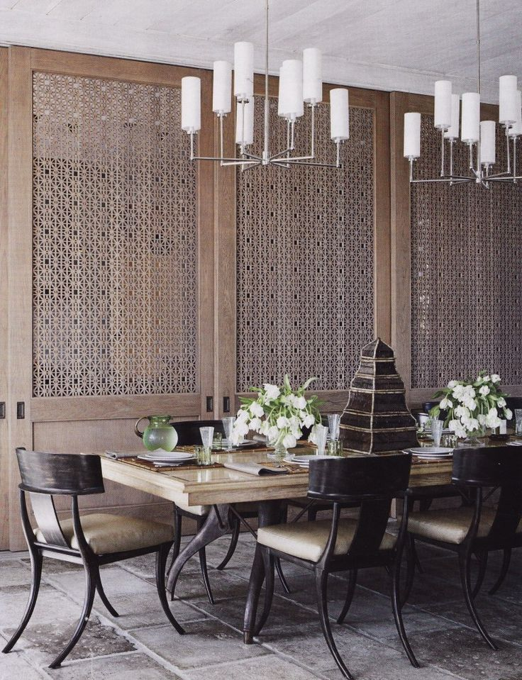 wood screen - Whether it's a simple folding screen in the corner of a space or an actual sliding screen door in between rooms, screen doors provide a fantastic Asian flair to a space. They provide a sense of privacy without the starker boundaries of a true wall.{image from greigedesign}. Incorporating Asian-Inspired Style Into Modern Décor