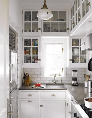 A great use of space in a tiny kitchen!: White Kitchen, Tiny Kitchen, Subway Tile, Small Kitchens, Glass, Cabinet, Kitchen Design, Kitchen Ideas