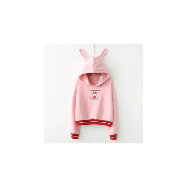 Rabbit Ear Hoodie ($31) ❤ liked on Polyvore featuring tops, hoodies, women, pink hoodies, rabbit top, pink hoodie, hooded pullover and rabbit hoodie