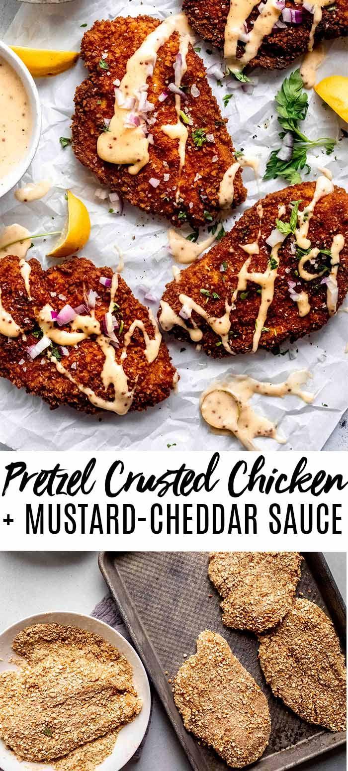Pretzel Crusted Chicken with Mustard Cheddar Sauce