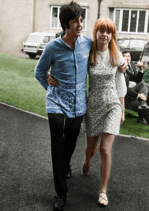 the60sbazaar:  Jane Asher and Paul McCartney  August 26, 1967 - Normal College, Bangor, Wales.