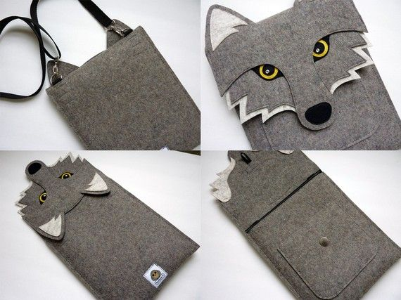Wolf New iPad and iPad 2 sleeve  Gray felt  Made to by BoutiqueID, $76.00