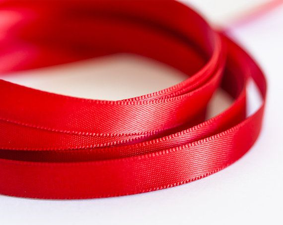 1927_Red ribbon 10 mm, Ribbon silk, Double faced satin ribbon, Satin ribbon, Ribbon double side, Silk ribbon for jewelry, Satin band_10 m.