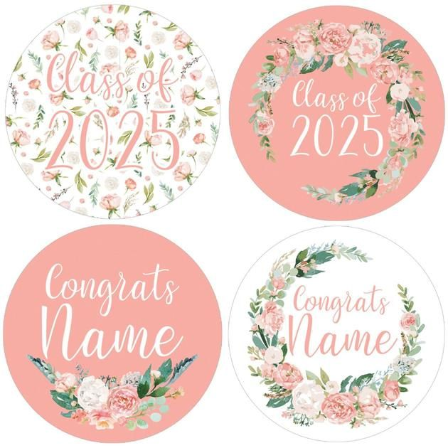 PERSONALIZED Watercolor Floral Graduation Large Round Labels - 20 ct