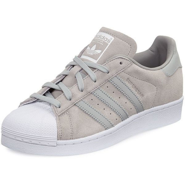 Adidas Superstar Original Suede Sneaker (845 MAD) ❤ liked on Polyvore featuring shoes, sneakers, clear, adidas sneakers, adidas trainers, lace up flat shoes, platform sneakers and platform shoes