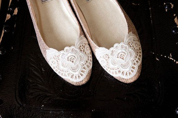 Lace Wedding Shoes Metallic Ballet Flats By Beccaandlouise On Etsy