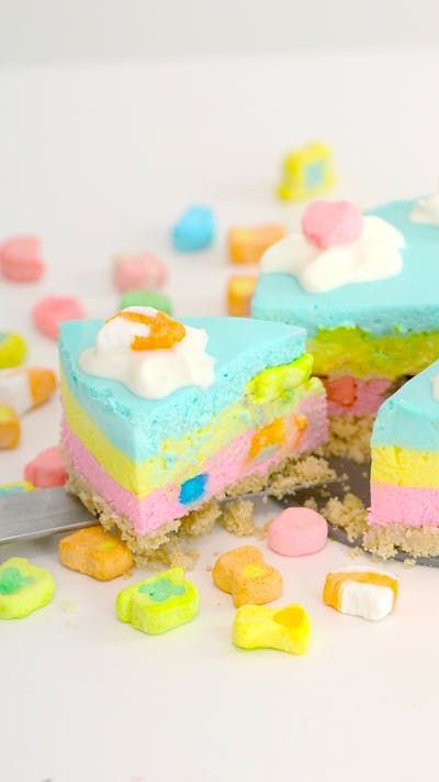 No-bake cheesecake is always delicious, but filled with Lucky Charms cereal it's magical too.