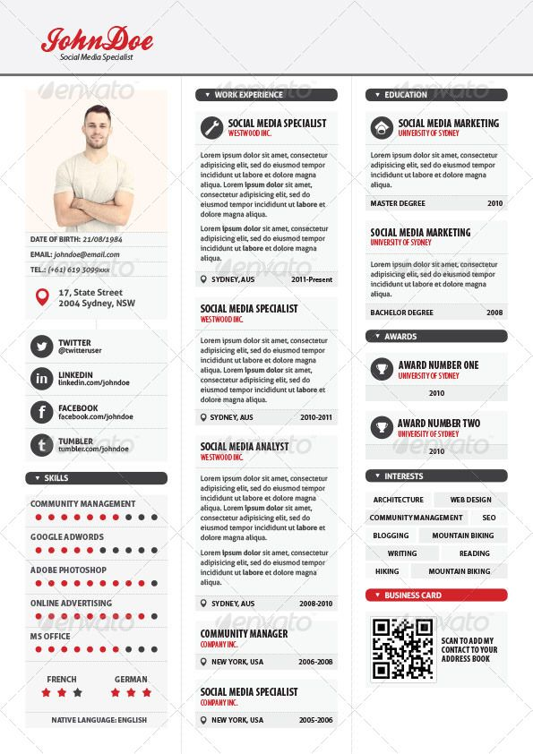 Simple 3 columns resume market thyself pinterest for Three column resume template