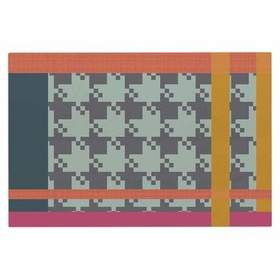East Urban Home Pellerina Houndstooth Color Block Contemporary Doormat
