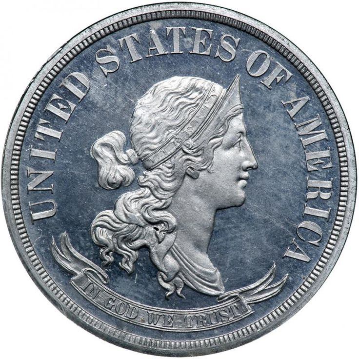 1869 Pattern Half Dollar. Aluminum, plain edge. PCGS PF65 Tied for Finest at PCGS. Unsurpassable in terms of surface preservation, both sides are thickly frosted and essentially tone-free. The devices were struck smack on the dot at the required force by the Pattern Proof dies leaving all design elements plain and trim, clear-cut, with not even one iota of weakness as found on some examples of the various STANDARD and STANDARD SILVER types parading around in the same numerical grade. During…