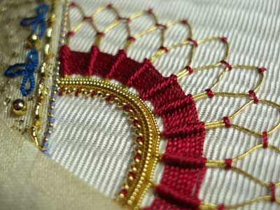 Goldwork & Silk ribbed spider web stitch - makes a great corner accent on crazy quilt squares... or other embroidery projects