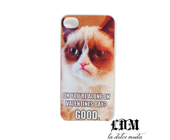 GRUMPY CAT VALENTINES Day Funny Lol Wtf Humor Hard Plastic Case IPhone 4  IPhone 4s IPhone