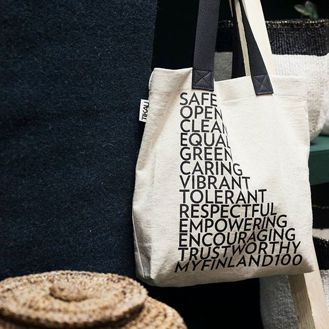 Tikau's newest products are now at Habitare's ethical area! One of them is Equal and Open- bag.    The words written on the bags represent what we hope our Finland will be next 100 years. They are made from hand woven organic cotton.   Picture: Aino Huovio   #myfinland100 #finland100 #suomi100 #tikau #habitare2017 #eettinenalue #organiccotton #ethical