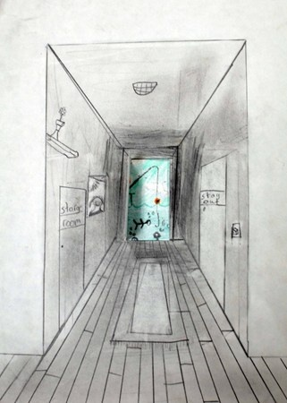 one point perspective with surrealist doors. Makes me think of Narnia.