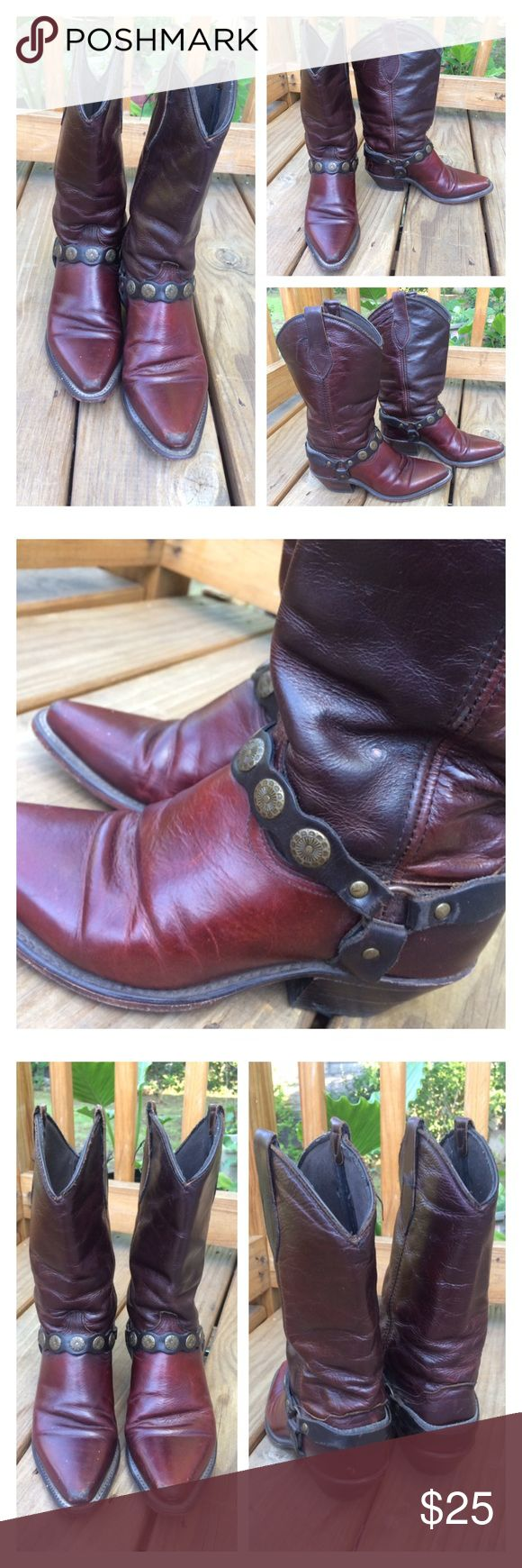 """Vintage Indian Red Leather Belted Cowboy Boots fits size 7 up to 7.5 - hard to read the size. Approx 2"""" heel. Worn to perfection please see all photos Vintage Shoes Heeled Boots"""
