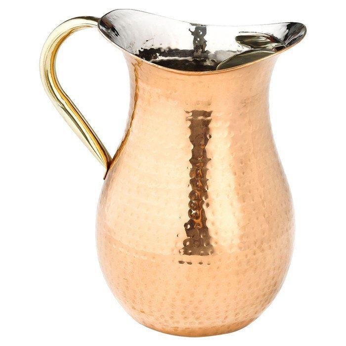 Copper Pitcher Vase Gregorian Hammered Vintage Jug Hand Handle Large Water Tea