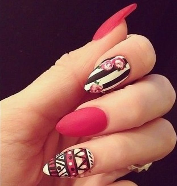 46 best nail art images on pinterest nail scissors pointy nails pink white black stiletto nails prinsesfo Gallery
