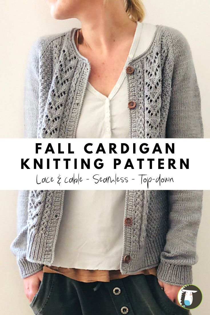 10 Fall Cardigan Patterns to Knit including this one featuring lace and cables, …