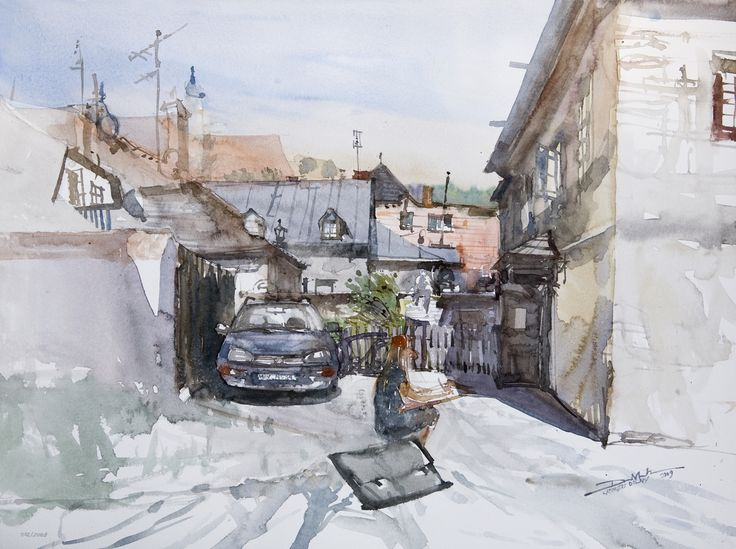 Kazimierz, 42x56cm, 2009 www.minhdam.com #architecture #watercolor #watercolour #art #artist #painting #kazimierz #dolny #poland