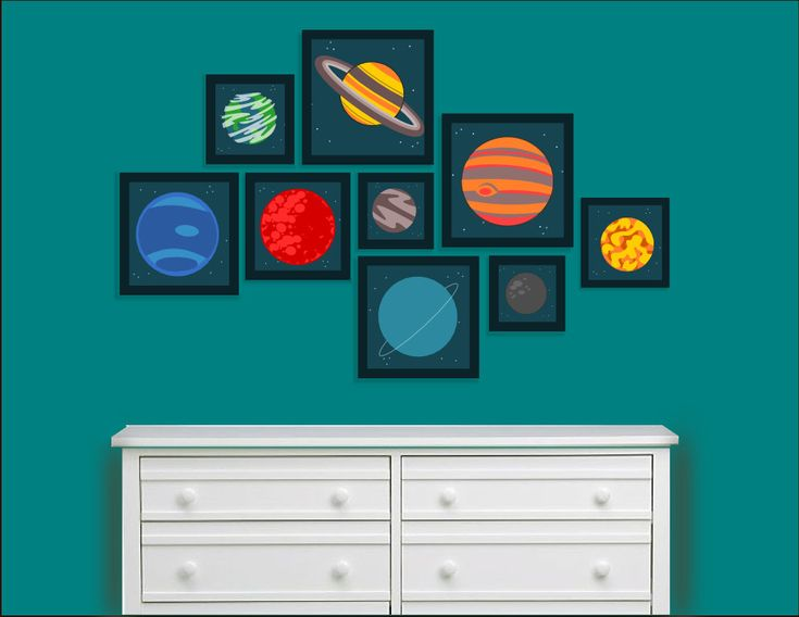 planets in our solar system childrens wall decorart outer space room