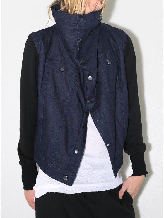 sherpa square collar jacket indigo/black
