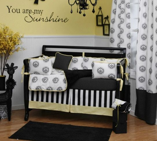 .: Colors, Cribs Beds, Baby Girls, Baby Rooms, Yellow, Black, Nurseries Ideas, Babies Rooms, Baby Stuff