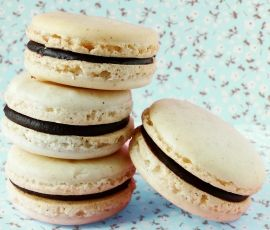 Chocolate Ganache filled Macarons: Divine macarons with an irresistibly smooth ganache filling. http://www.bakers-corner.com.au/recipes/cookies/chocolate-ganache-filled-macarons/