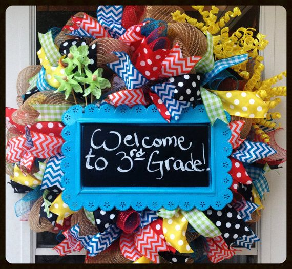 Back to School Wreath - Happy Birthday Wreath - Celebration Wreath - Party Wreath - Teacher Gift - Classroom Wreath - Deco Mesh Wreath on Etsy, $90.00