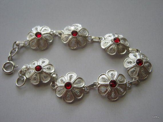 Bransoletka srebrna kwiatki rękodzieło upominek