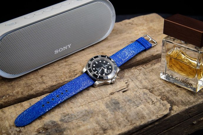 d7e795ce572 Blue Stingray Leather Handmade Watch Strap Watch Band for 20mm Lug Watches  Stingray Watch Strap Stingray Watch Band 20mm Stingray Bracelet by  CeliniDesign