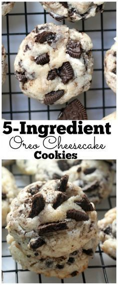 5-Ingredient Oreo Cheesecake Cookies- They're all cookie (think crispy edges and chewy center), but taste as smooth and creamy as cheesecake. They're totally addicting!
