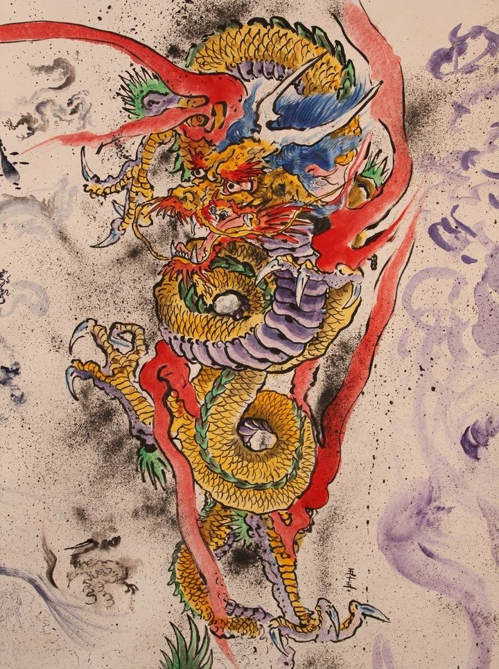 japanese dragon by don ed hardy 6 tribal dragons pinterest watercolors don ed hardy and. Black Bedroom Furniture Sets. Home Design Ideas