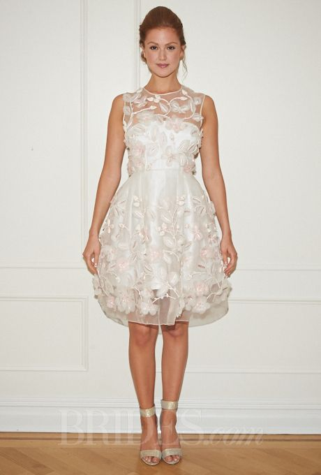 Randi Rahm Wedding Dress Fall 2014 Collection - Ivory and Blush Knee-Length A-Line Gown with Floral Applique