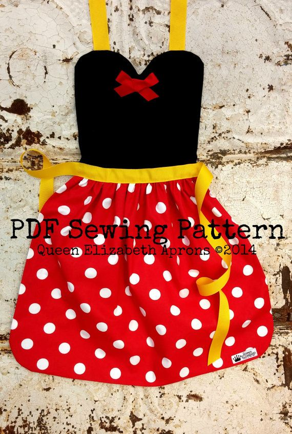 MINNIE MOUSE Pdf Sewing PATTERN. Disney inspired Child Costume Apron. Dress up Play Photo prop Disneyland Birthday Party Fits Girls size 2-8
