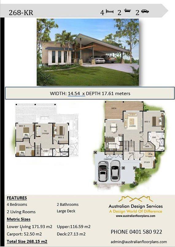 268m2 4 Bedrooms 4 Bedrooms Split Level Floor Plan 4 Bedroom Carport Plans Modern 4 Be Porch House Plans House Plans Australia Affordable House Plans