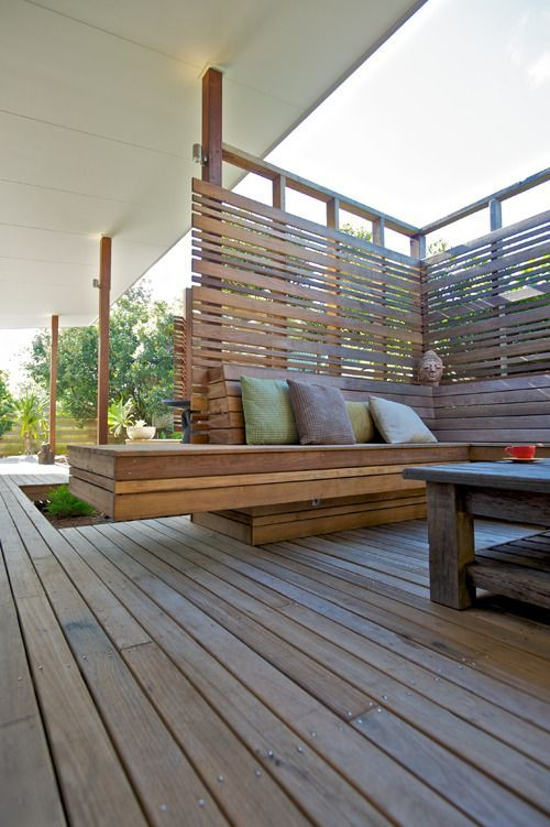 Privacy screen and bench seats drought tolerant gardens for Patio deck privacy screen