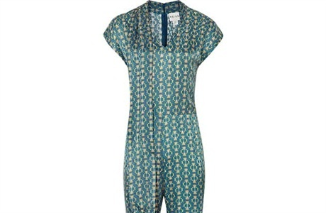 From scene 2 Outfit 3: Reiss green patterned silk jumpsuit £265