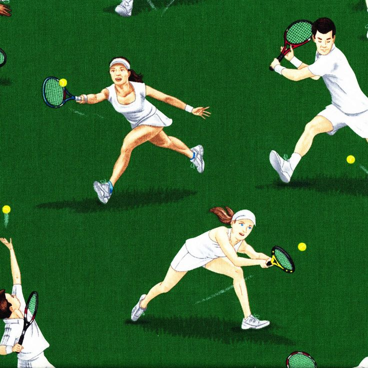 Tennis Players on Green Ladies Mens Sport Quilt Fabric - Find a Fabric. Available to purchase in Fat Quarters, Half Metre, 3/4 Metre, 1 Metre and so on.