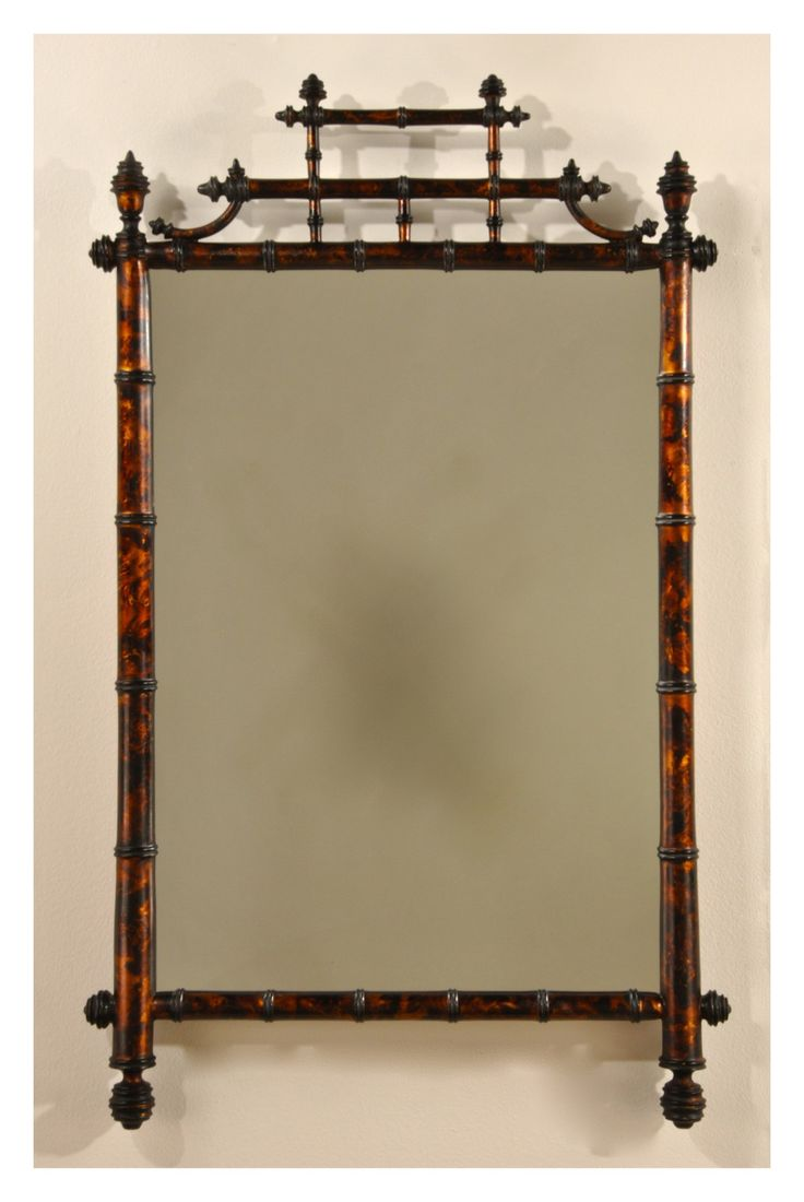 Carvers' Guild Horner Bamboo Mirror in Tortoise Shell from The Well Appointed House