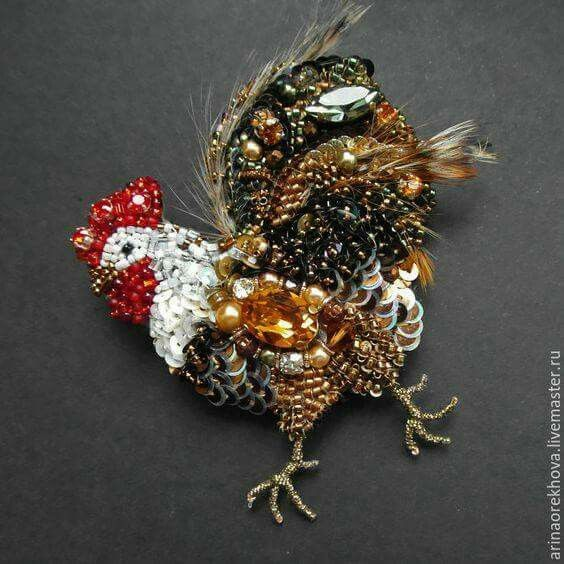 Sequins and beads - chicken