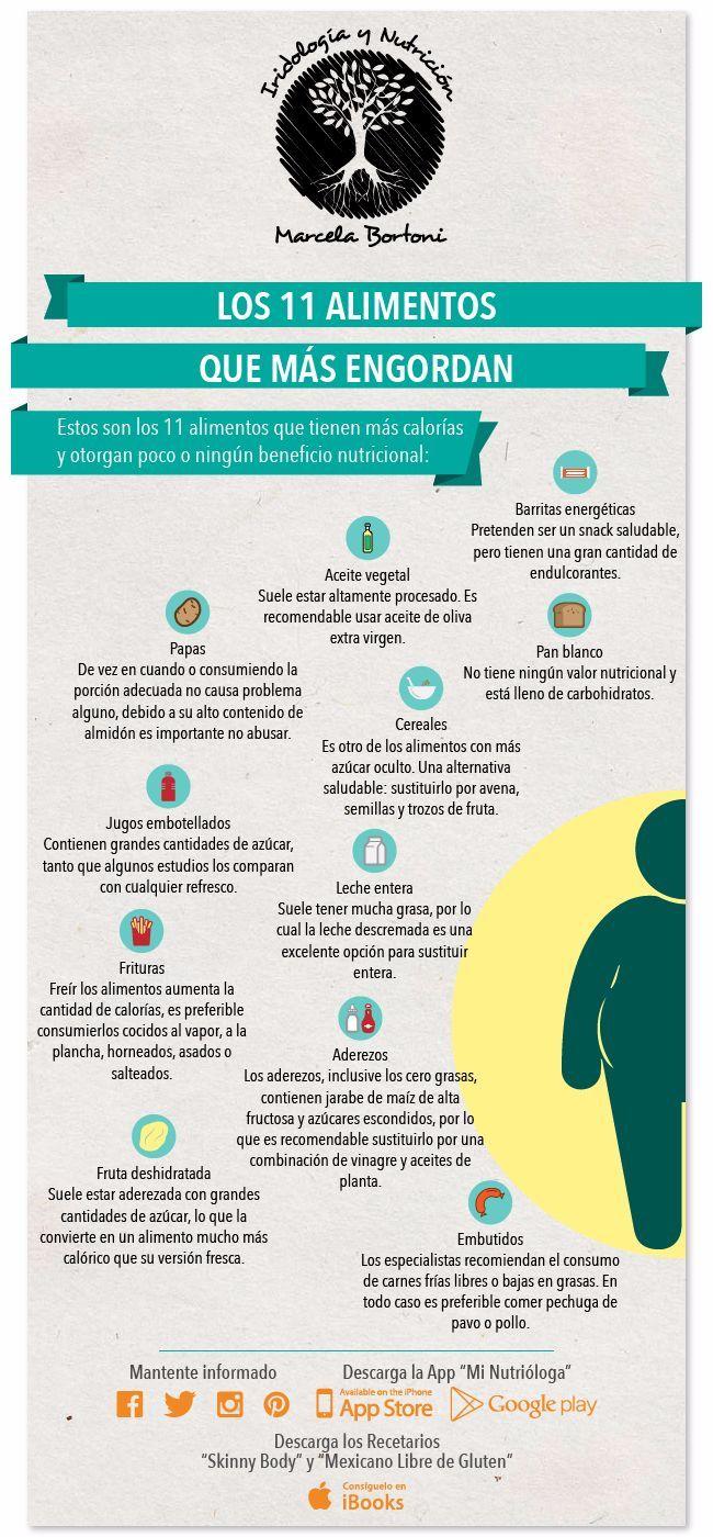 11 alimentos que engordan más de lo que crees. #infografia #nutrición #salud