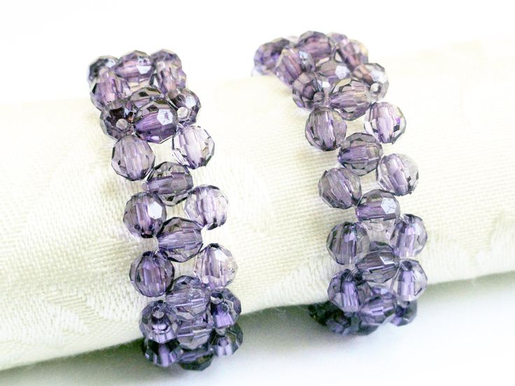 Beaded napkin rings woven (x 4) amethyst sparkly purple beads (set of 4). $18.00, via Etsy.