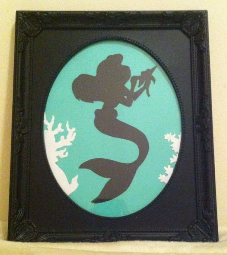 Easy paper cut out Disney silhouette picture frame. The little mermaid, Ariel.