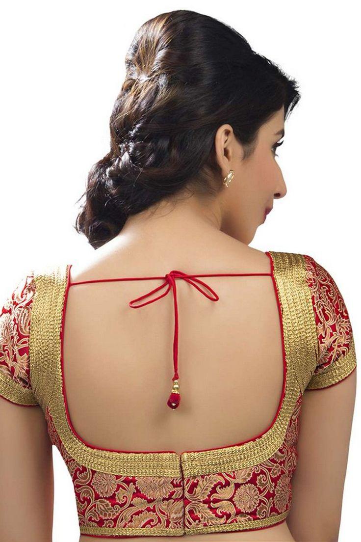 Blood #red & #gold festive wear banarasi semi brocade #enticing blouse with pot neck -BL701